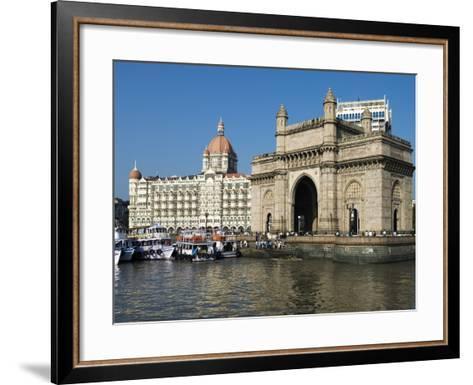 Waterfront with Taj Mahal Palace and Tower Hotel and Gateway of India, Mumbai (Bombay), India-Stuart Black-Framed Art Print