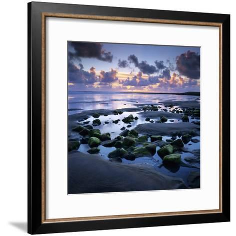 Sunset over Rock Pool, Strandhill, County Sligo, Connacht, Republic of Ireland, Europe-Stuart Black-Framed Art Print