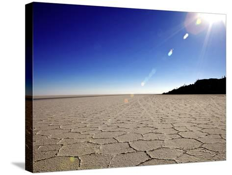 Isla de Los Pescadores and Salt Flats, Salar de Uyuni, Southwest Highlands, Bolivia, South America-Simon Montgomery-Stretched Canvas Print