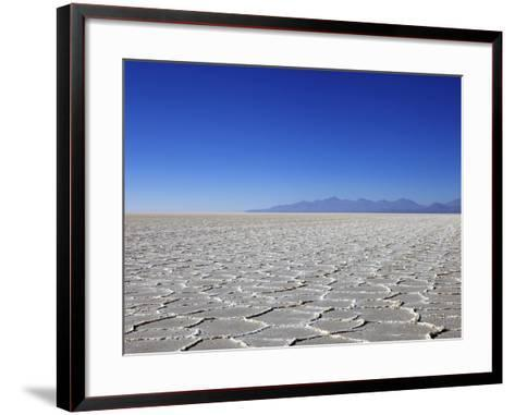 Salt Deposits in Salar de Uyuni Salt Flat and Andes Mountains in Distance in South-Western Bolivia-Simon Montgomery-Framed Art Print