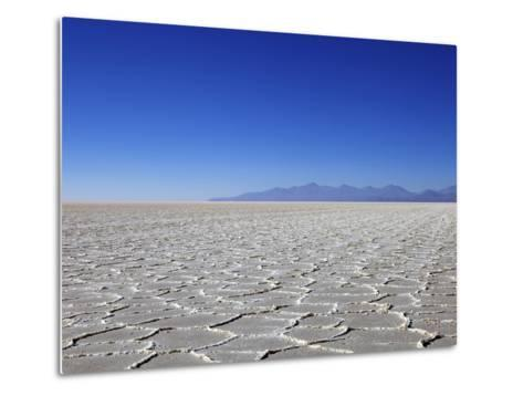 Salt Deposits in Salar de Uyuni Salt Flat and Andes Mountains in Distance in South-Western Bolivia-Simon Montgomery-Metal Print
