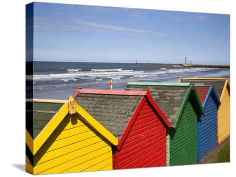 Beach Huts at Whitby Sands, Whitby, North Yorkshire, Yorkshire, England, United Kingdom, Europe-Mark Sunderland-Stretched Canvas Print