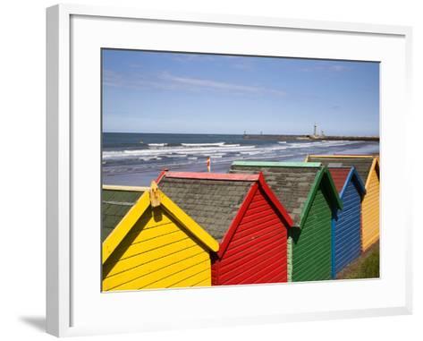Beach Huts at Whitby Sands, Whitby, North Yorkshire, Yorkshire, England, United Kingdom, Europe-Mark Sunderland-Framed Art Print
