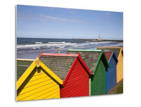 Beach Huts at Whitby Sands, Whitby, North Yorkshire, Yorkshire, England, United Kingdom, Europe-Mark Sunderland-Metal Print