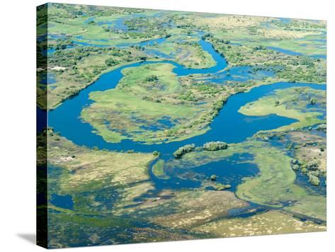 Aerial View of Floodplains, Water Channels, and Islands, Zambezi and Chobe Rivers, Namibia-Kim Walker-Stretched Canvas Print