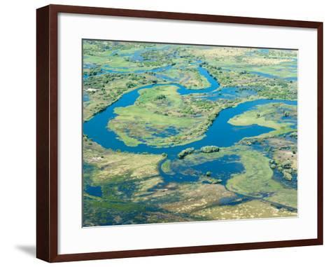 Aerial View of Floodplains, Water Channels, and Islands, Zambezi and Chobe Rivers, Namibia-Kim Walker-Framed Art Print