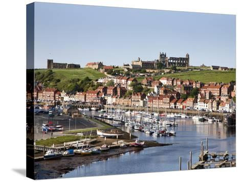 Whitby and the River Esk from the New Bridge, Whitby, North Yorkshire, Yorkshire, England, UK-Mark Sunderland-Stretched Canvas Print