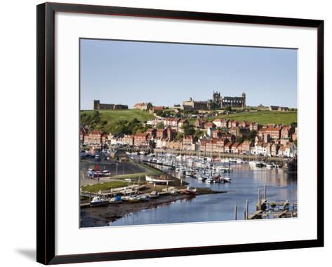 Whitby and the River Esk from the New Bridge, Whitby, North Yorkshire, Yorkshire, England, UK-Mark Sunderland-Framed Art Print