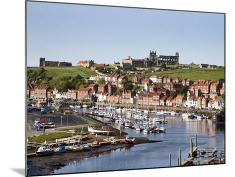 Whitby and the River Esk from the New Bridge, Whitby, North Yorkshire, Yorkshire, England, UK-Mark Sunderland-Mounted Photographic Print