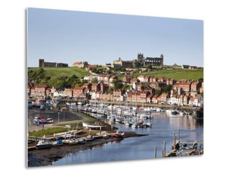 Whitby and the River Esk from the New Bridge, Whitby, North Yorkshire, Yorkshire, England, UK-Mark Sunderland-Metal Print