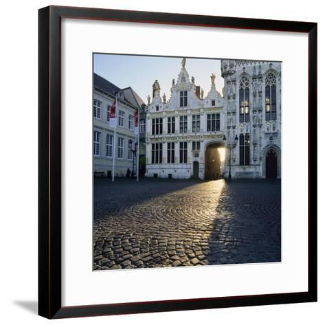 Burg Square and Town Hall, Bruges, UNESCO World Heritage Site, West Vlaanderen (Flanders), Belgium-Stuart Black-Framed Art Print
