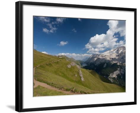Hiking on High Route 2 in Dolomites, Bolzano Province, Trentino-Alto Adige/South Tyrol, Italy-Carlo Morucchio-Framed Art Print