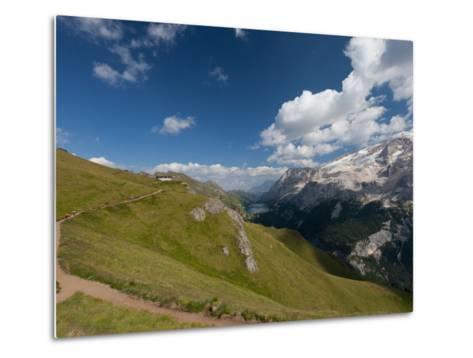 Hiking on High Route 2 in Dolomites, Bolzano Province, Trentino-Alto Adige/South Tyrol, Italy-Carlo Morucchio-Metal Print