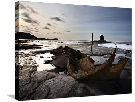 Old Wreck and Black Nab at Saltwick Bay, Near Whitby, North Yorkshire, Yorkshire, England, UK-Mark Sunderland-Stretched Canvas Print