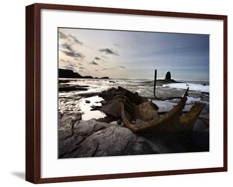 Old Wreck and Black Nab at Saltwick Bay, Near Whitby, North Yorkshire, Yorkshire, England, UK-Mark Sunderland-Framed Art Print