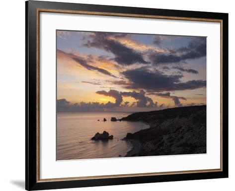 Aphrodite's Rock at Sunset, Paphos, UNESCO World Heritage Site, South Cyprus, Cyprus, Mediterranean-Stuart Black-Framed Art Print