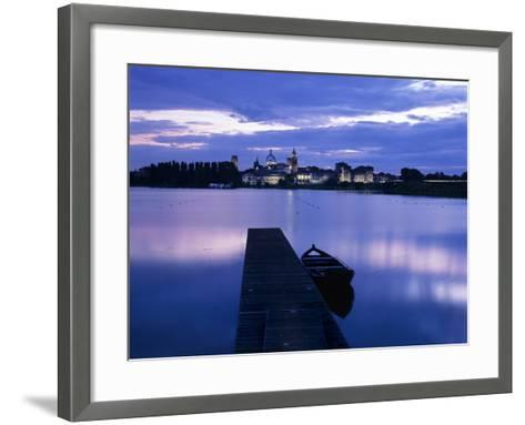 Dusk over the Old Town and Lake Inferiore, Mantua, Lombardy, Italy, Europe-Stuart Black-Framed Art Print