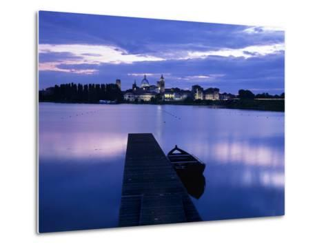 Dusk over the Old Town and Lake Inferiore, Mantua, Lombardy, Italy, Europe-Stuart Black-Metal Print