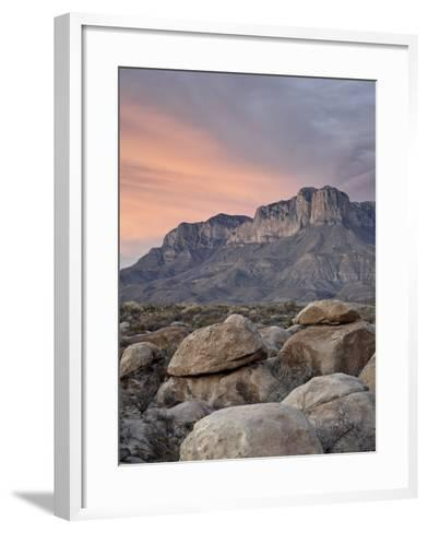 Guadalupe Peak and El Capitan at Sunset, Guadalupe Mountains National Park, Texas, USA-James Hager-Framed Art Print