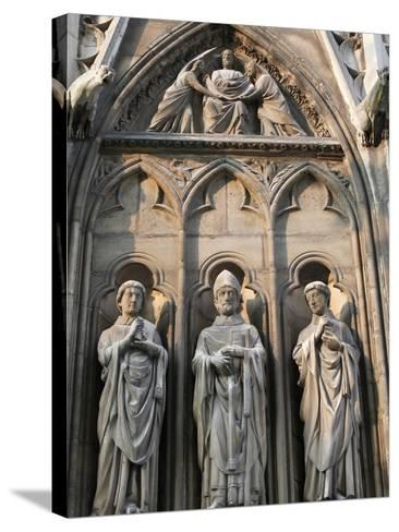 Apostle Sculptures, South Facade, Notre Dame Cathedral, Paris, France, Europe-Godong-Stretched Canvas Print