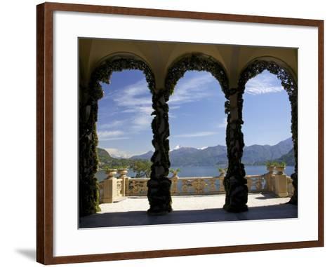 Loggia and Gardens of Villa del Balbianello on Punta di Lavedo, Lenno, Lake Como, Italy-Peter Barritt-Framed Art Print