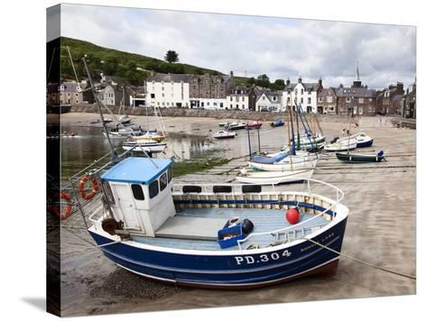Beached Fishing Boat in the Harbour at Stonehaven, Aberdeenshire, Scotland, United Kingdom, Europe-Mark Sunderland-Stretched Canvas Print