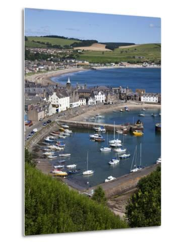 Stonehaven Harbour and Bay from Harbour View, Stonehaven, Aberdeenshire, Scotland, UK, Europe-Mark Sunderland-Metal Print
