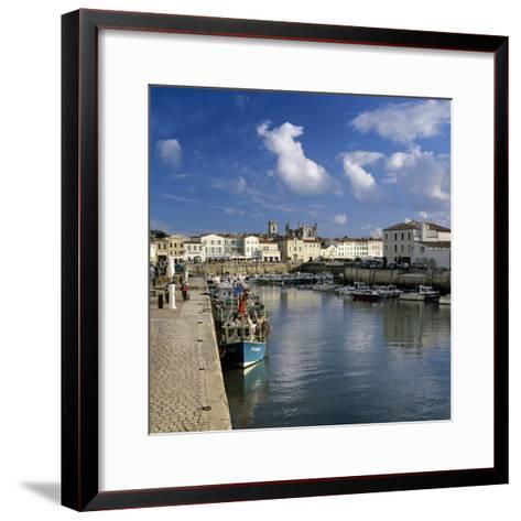 Harbour and Abbey, St. Martin, Ile de Re, Poitou-Charentes, France, Europe-Stuart Black-Framed Art Print