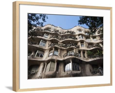 Mila House (Or La Pedrera) by Antoni Gaudi, UNESCO World Heritage Site, Barcelona, Spain-Nico Tondini-Framed Art Print