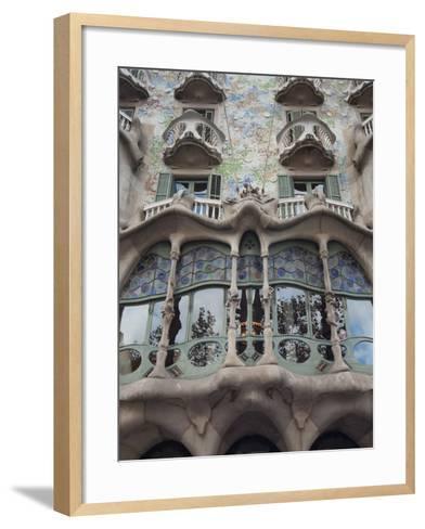 Facade of Casa Batllo by Gaudi, UNESCO World Heritage Site, Passeig de Gracia, Barcelona, Spain-Nico Tondini-Framed Art Print