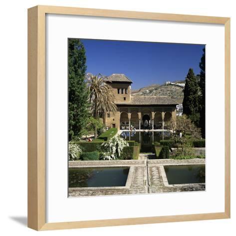 View over Gardens, Alhambra Palace, UNESCO World Heritage Site, Granada, Andalucia, Spain, Europe-Stuart Black-Framed Art Print