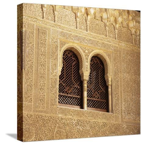 Moorish Window and Arabic Inscriptions, Alhambra Palace, UNESCO World Heritage Site, Spain-Stuart Black-Stretched Canvas Print