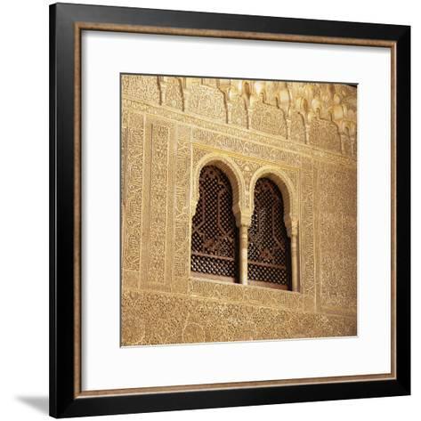 Moorish Window and Arabic Inscriptions, Alhambra Palace, UNESCO World Heritage Site, Spain-Stuart Black-Framed Art Print