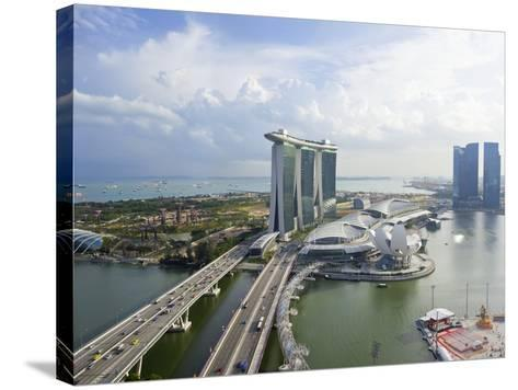 The Helix Bridge and Marina Bay Sands Singapore, Marina Bay, Singapore, Southeast Asia, Asia-Gavin Hellier-Stretched Canvas Print
