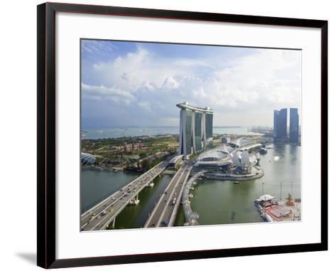The Helix Bridge and Marina Bay Sands Singapore, Marina Bay, Singapore, Southeast Asia, Asia-Gavin Hellier-Framed Art Print