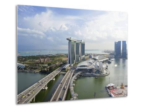 The Helix Bridge and Marina Bay Sands Singapore, Marina Bay, Singapore, Southeast Asia, Asia-Gavin Hellier-Metal Print