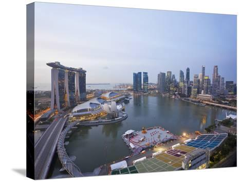 The Helix Bridge and Marina Bay Sands, Elevated View over Singapore, Marina Bay, Singapore-Gavin Hellier-Stretched Canvas Print