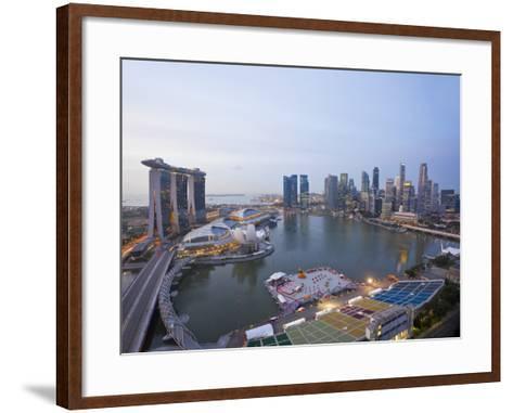 The Helix Bridge and Marina Bay Sands, Elevated View over Singapore, Marina Bay, Singapore-Gavin Hellier-Framed Art Print