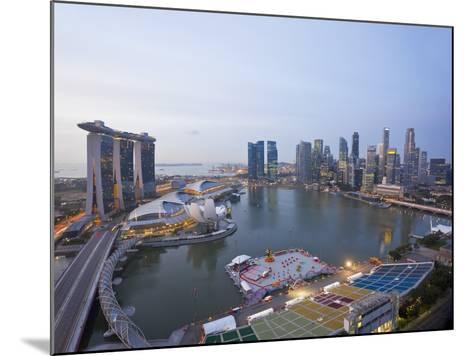 The Helix Bridge and Marina Bay Sands, Elevated View over Singapore, Marina Bay, Singapore-Gavin Hellier-Mounted Photographic Print