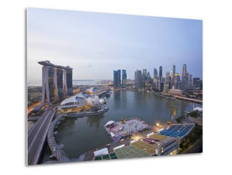 The Helix Bridge and Marina Bay Sands, Elevated View over Singapore, Marina Bay, Singapore-Gavin Hellier-Metal Print