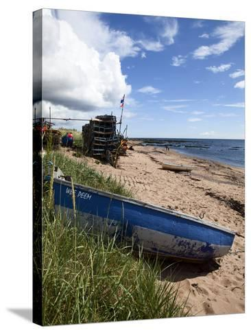 Fishing Boat on the Beach at Carnoustie, Angus, Scotland, United Kingdom, Europe-Mark Sunderland-Stretched Canvas Print