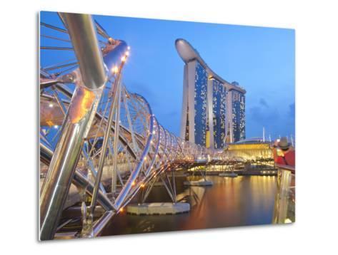 The Helix Bridge and Marina Bay Sands, Marina Bay, Singapore, Southeast Asia, Asia-Gavin Hellier-Metal Print