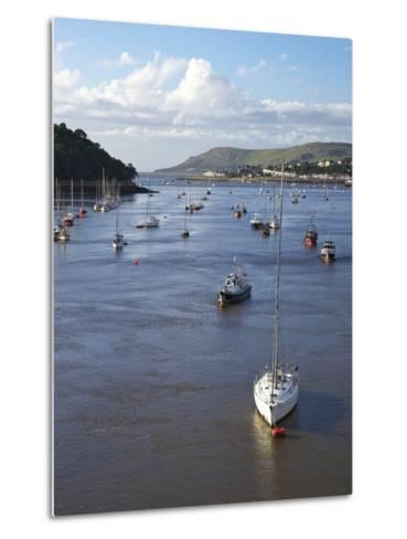 River Conwy Estuary Looking to Deganwy and Great Orme, Llandudno, Summer, Gwynedd, North Wales, UK-Peter Barritt-Metal Print