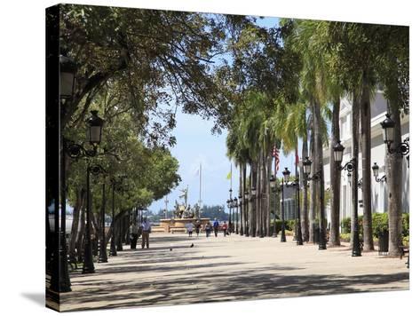 Paseo de La Princesa (Walkway of Princess), Old San Juan, San Juan, Puerto Rico, West Indies, USA-Wendy Connett-Stretched Canvas Print
