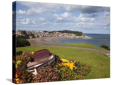 Rowing Boat and Flower Display, South Cliff Gardens, Scarborough, North Yorkshire, England-Mark Sunderland-Stretched Canvas Print