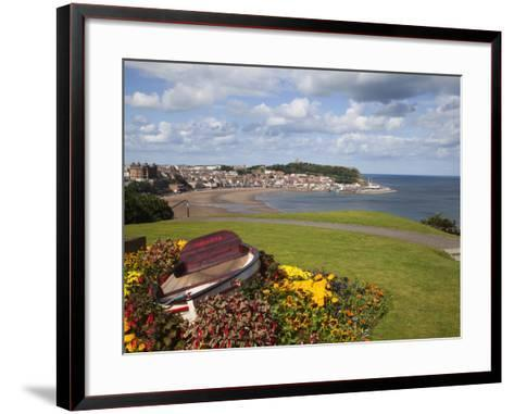 Rowing Boat and Flower Display, South Cliff Gardens, Scarborough, North Yorkshire, England-Mark Sunderland-Framed Art Print