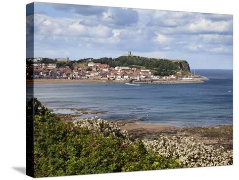 South Bay and Castle Hill from South Cliff Gardens, Scarborough, North Yorkshire, England, UK-Mark Sunderland-Stretched Canvas Print