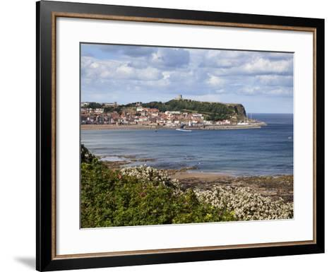 South Bay and Castle Hill from South Cliff Gardens, Scarborough, North Yorkshire, England, UK-Mark Sunderland-Framed Art Print
