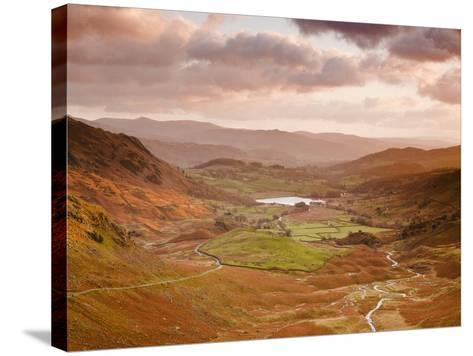 Looking Down Wrynose Pass to Little Langdale in Lake District National Park, Cumbria, England-Julian Elliott-Stretched Canvas Print