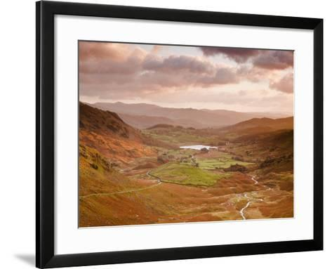 Looking Down Wrynose Pass to Little Langdale in Lake District National Park, Cumbria, England-Julian Elliott-Framed Art Print